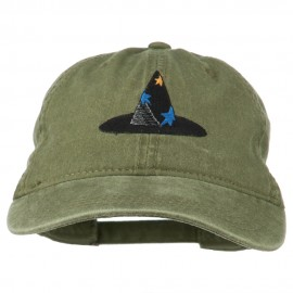 Halloween Wizard Hat Embroidered Cap - Olive Green