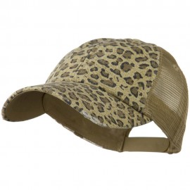 Low Profile Canvas Leopard Printed Mesh Cap - Khaki