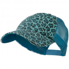 Low Profile Canvas Leopard Printed Mesh Cap - Light Blue