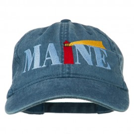 Maine Lighthouse Embroidered Washed Pigment Dyed Cap - Navy