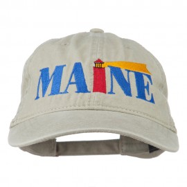 Maine Lighthouse Embroidered Washed Pigment Dyed Cap - Stone