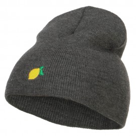 Mini Lemon Embroidered Short Beanie