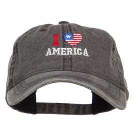 I Love America Embroidered Washed Cap