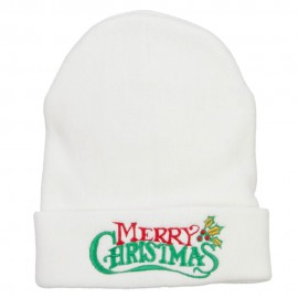 Merry Christmas Mistletoe Embroidered Long Beanie
