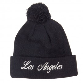 Los Angeles Embroidered Pom Cuff Beanie