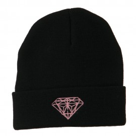 Light Pink Diamond Embroidered Long Cuff Beanie