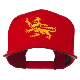 Lion Scroll Embroidered Flat Bill Cap