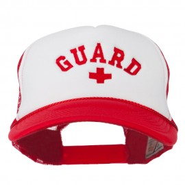 Life Guard Cross Embroidered Foam Mesh Back Cap - Red White Red