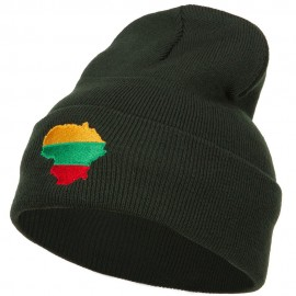 Lithuania Flag Map Embroidered Long Beanie
