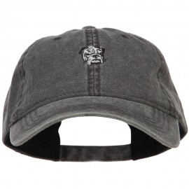 Bulldog Head Embroidered Washed Cap