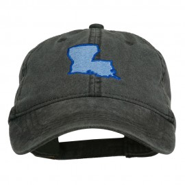 Louisiana State Map Embroidered Washed Cotton Cap - Black