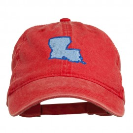 Louisiana State Map Embroidered Washed Cotton Cap