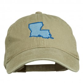 Louisiana State Map Embroidered Washed Cotton Cap - Khaki