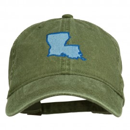 Louisiana State Map Embroidered Washed Cotton Cap - Olive Green