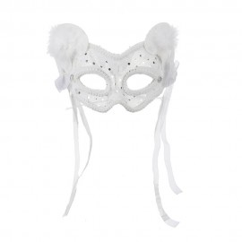 Lace and Velvet Cat Mask with Feathers and Bows