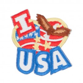 I Love USA Patriotic Patches