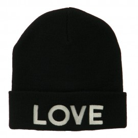 Love Embroidered Long Beanie - Black