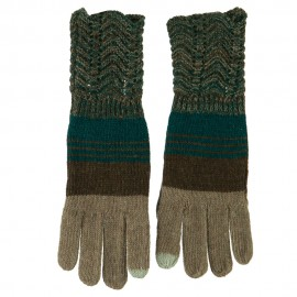 Women's Lace Knit Striped Texting Glove