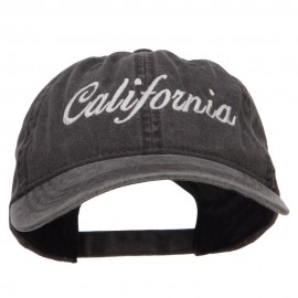 California Embroidered Washed Cap - Black