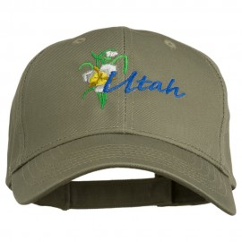 USA State Utah Flower Sego Lily Embroidery Organic Cotton Cap