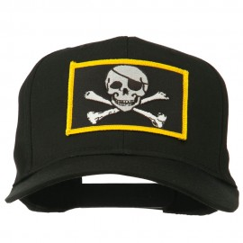 Jolly Roger Skull Military Patched Cap - Black