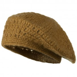 Mohair and Acrylic Knit Beret - Camel
