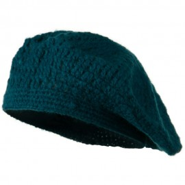 Mohair and Acrylic Knit Beret - Teal