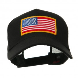 5 Panel Mesh American Flag Gold Patch Cap