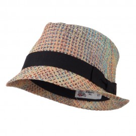 Multi Woven Straw Fedora with Band - Multi