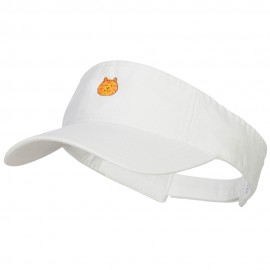 Mini Cat Face Embroidered Cotton Washed Visor