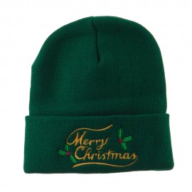 Merry Christmas with Mistletoes Embroidered Long Beanie
