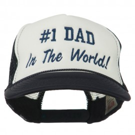 Number 1 Dad In The World Embroidered Foam Mesh Back Cap - Navy White