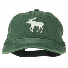 American Moose Embroidered Washed Cap - Dk Green