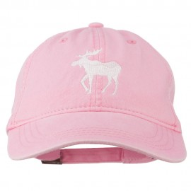 American Moose Embroidered Washed Cap - Pink