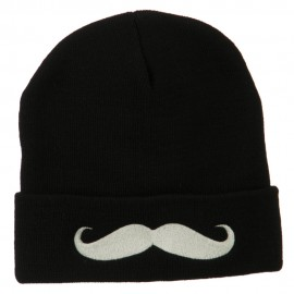 Mustache Embroidered Cuff Long Beanie - Black