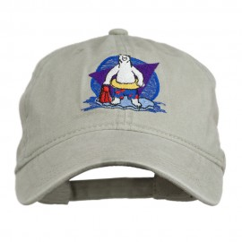 Bear Mascot Embroidered Washed Cap