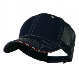 6 Panel Mesh Flag Mesh Cap - Navy