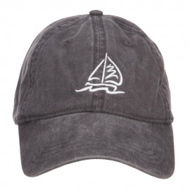 Sailboat and Wave Embroidered Pigment Dyed Cap - Black