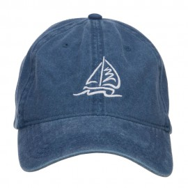 Sailboat and Wave Embroidered Pigment Dyed Cap - Navy