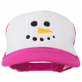 Snowman Face Embroidered Foam Mesh Cap