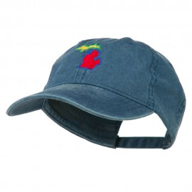 Michigan State Map Embroidered Washed Cotton Cap
