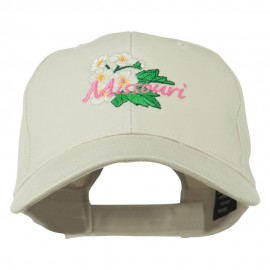 US State Missouri Hawthorn Flower Embroidered Cap - Stone