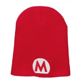 Circle Mario Embroidered Short Beanie - Red