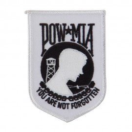 Pow Mia Embroidered Military Patch - Pow White
