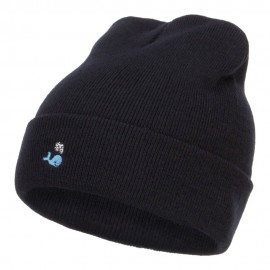 Mini Whale Embroidered Long Beanie