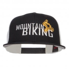 Mountain Biking Embroidered Snapback Mesh Cap