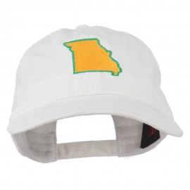 Missouri State Map Embroidered Washed Cotton Cap