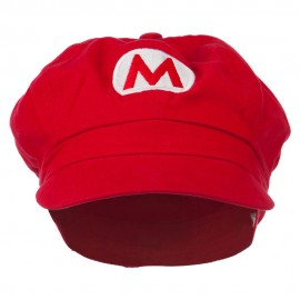Big Size Circle Mario and Luigi Embroidered Cotton Newsboy Cap - Red