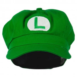 Youth Circle Mario and Luigi Embroidered Cotton Newsboy Cap - Lime
