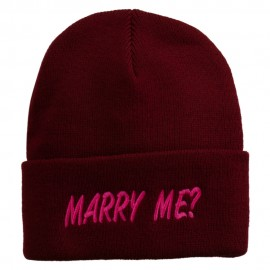 Marry Me Embroidered Long Cuff Beanie
